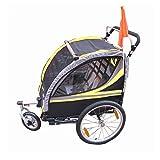 HBIAO Remolque de Bicicleta para niños, 3 en 1, Doble, 2 Asientos, Remolque para Bicicleta, Cochecito para niños, Remolque Plegable para Bicicleta,Amarillo