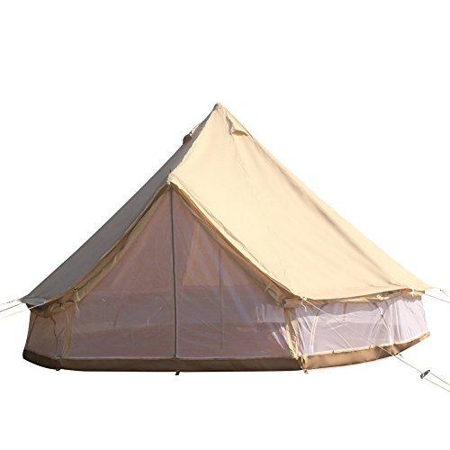 Dream House Heavy Duty Glamping Tent Safari Tent (Cotton Canvas Tent with Mesh Side Wall, Diameter 5M/16.4ft)
