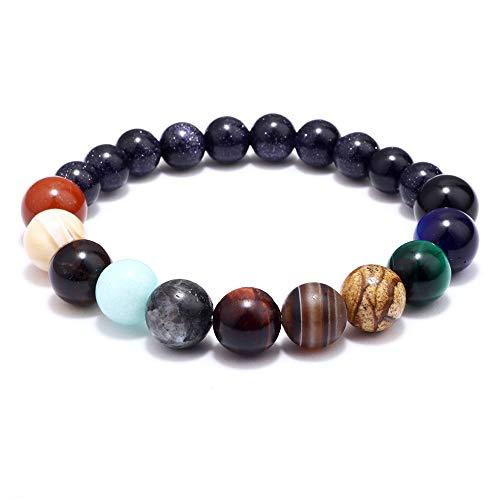 Magnetiskt spänne läderarmband med äkta 7 chakrasten mala-pärlor helande kristall balanserande yoga e legering, colore: Blue-nine Planets, cod. HSUEU033