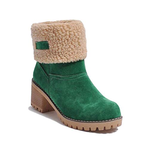 Minetom Botas de Nieve Mujer Tacón Medio Botines Botita Moda Felpa Peluche Caliente Antideslizante Impermeable Zapatos Invierno Boots Verde 40 EU