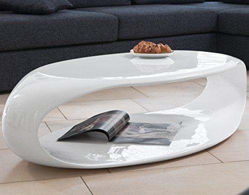 SalesFever Couch-Tisch weiß Hochglanz 120x60 cm aus Fiberglas recht-eckig | August | Futuristischer Wohnzimmer-Tisch im Retro-Look mit viel Ablagefläche 120cm x 60cm