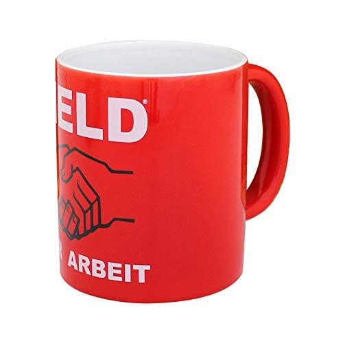 Tasse Kaffeebecher Held der Arbeit rot, Kultmotiv aus DDR Zeiten, Höhe ca. 9,5cm Durchmesser ca. 8 cm