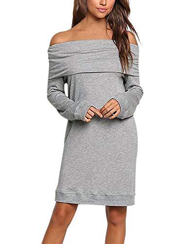 ACHIOOWA Damen Strickkleider Sexy Langarm Pulloverkleid Revers Schulterfrei Abend Cocktailkleid Grau-984683 M