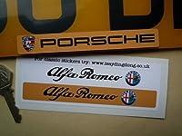 Alfa Romeo Number Plate Dealer Logo Cover Stickers アルファロメオ ロゴ ステッカー デカール シール 海外限定 140mm × 18mm 2枚セット [並行輸入品]