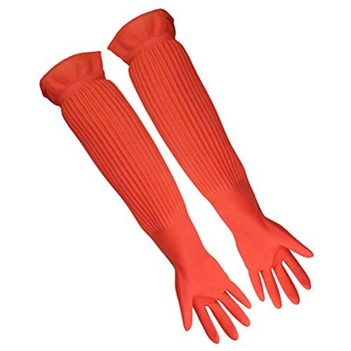 POPETPOP Aquarium-Handschuhe für Aquarien, wasserfest, freie Größe, Lange Gummi-Handschuhe, halten Ihre Hände und Arme trocken und verhindert Verschmutzungsallergien