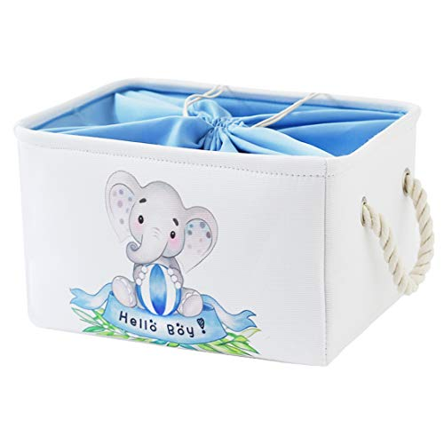 INough Elephant Baby Storage Basket for Kids, Elephant Storage Bins for Kids Collapsible Large Storage Basket for Toys Clothes,Fabric Toy Box for Baby/Kids/Nursery Room (Large, Hello Boy Elephant)