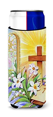 Caroline tesoros de la Cruz y Biblia de manchas de cristal ventana de Pascua Michelob Ultra Koozies para slim latas, multicolor