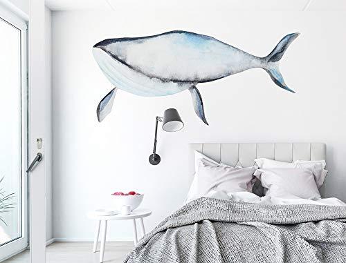 Wandtattoo Aquarell 'Wal schwarz weiß Wandsticker Unterwasserwelt Deko