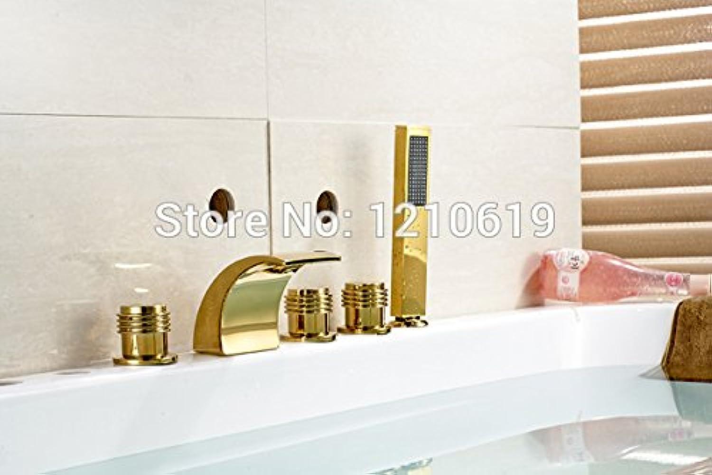 Maifeini Neu Versand Moderne Verbreitete Bad Badewanne Armatur Dusche Wasserhahn Golden Poliert W Handbrause Deck Montiert