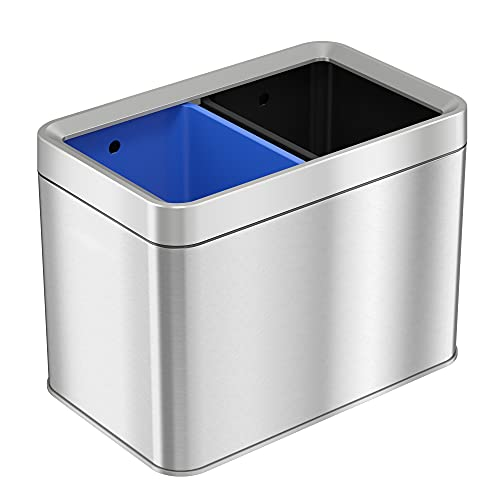 iTouchless 5.3 Gallon Dual Compartment Slim Open Top Waste Bin for Trash Can & Recycle Container, 20 Liter Stainless Steel Wastebasket