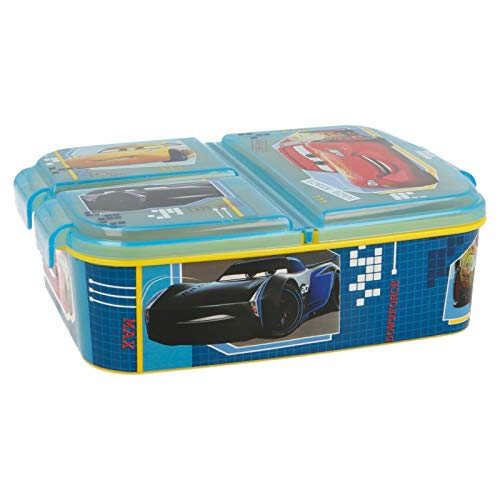 CARS - Disney | Brotdose mit 3 Fächern für Kinder - Kids Sandwich Box - Lunchbox - Brotbox BPA frei | Lighting McQueen