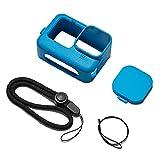 Funda protectora de silicona para gopro héroe 9 accesorios kit lente tapa correa mano azul duradero
