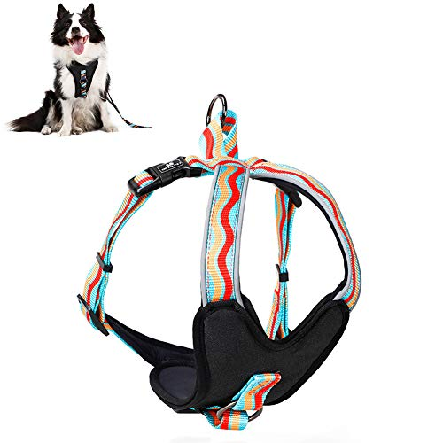Lhh No Pull Dog Harness Puppy Vest Dogs Harnesses Front Clip Pet Chest Strap with Handle, Adjustable, Reflective, Breathable Soft Mesh, Easy Control,b,M