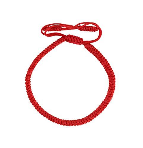Lucky Buddhist – Glücksarmband + Anhänger/Halskette! – Für Männer, Frauen, Teen – Geflochtene Freundschaftsarmbänder, Handgefertigt – Einstellbares Armband für das Handgelenk - Tibet Stil (Rot)