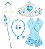 HenzWorld Jewelry Accessories for Little Girls Blue Gloves Set Princess Dress Up Halloween Costume Cosplay Role Pretend Birthday Party Presents Kids Children Age 3-14 Years