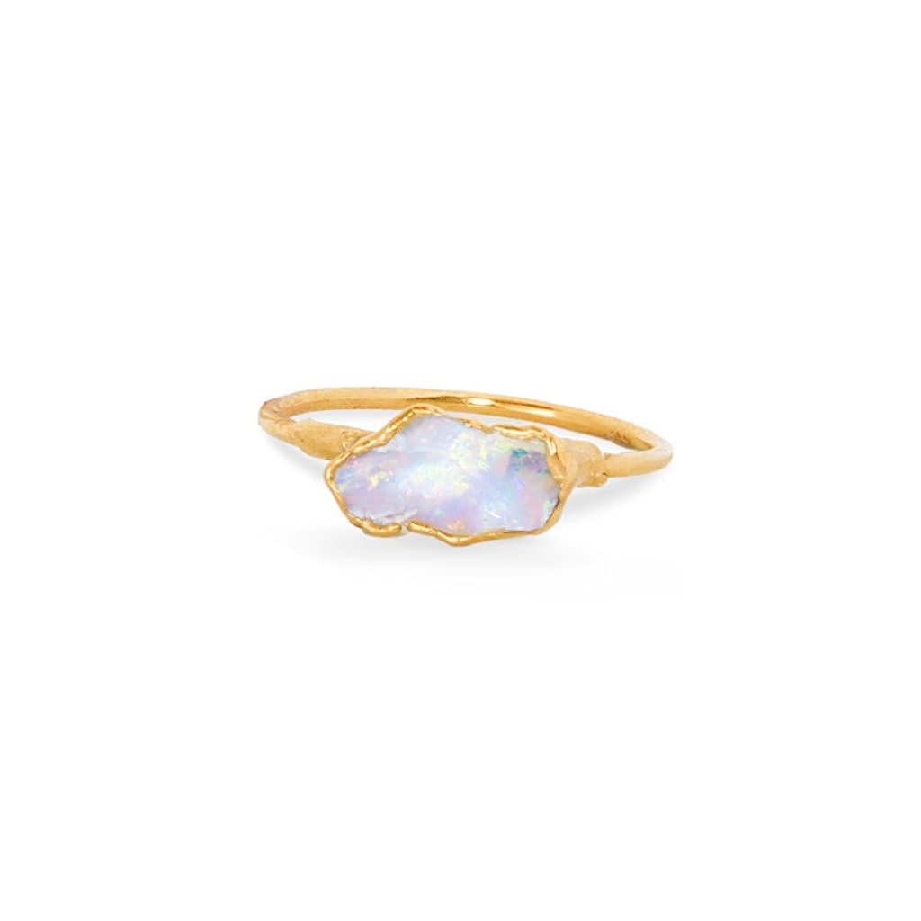 Dainty Stackable Raw Opal Ring, Yellow Gold, October Birthstone
