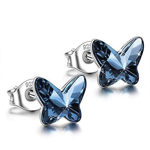 ANGEL NINA Pendientes Mariposa Mujer 925 Plata con Cristales Swarovski Azul Aretes Joyas Regalos para Navidad San Valentín Cumpleaños Aniversario San Valentín Madre Esposa Hija Niña Ella Su