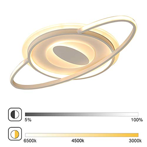 LED dimbare plafondlamp slaapkamer lamp modern ellipse design plafondlamp woonkamerlamp eetkamer decoratie plafondverlichting metaal acryl lampenkap 52W met afstandsbediening L70×W40cm Wit