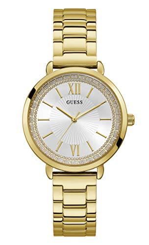 Guess Damen Analog Quarz Uhr mit Edelstahl Armband W1231L2