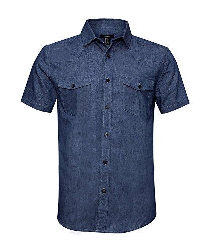 SOOPO Herren Kurzarm Regular Fit Jeanshemd Freizeithemd Arbeitshemd Cowboy-Style Denim Shirt Dunkelblau S