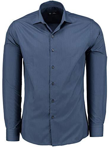 TMK Herren Hemd - Slim - Fit - Langarm - Premium Bügelleicht Hemden für Business, Freizeit, Hochzeit, Party für Männer - Navy M