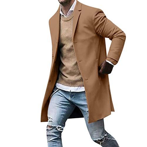 Surfiiy Giacca da Uomo Lungo Casual Cappotto Cammello Antivento Giacca a Vento Elegante Blazer Uomo Invernale Cotone Cappotto Blouse Giacche da Uomo Cardigan Cappotto Lungo
