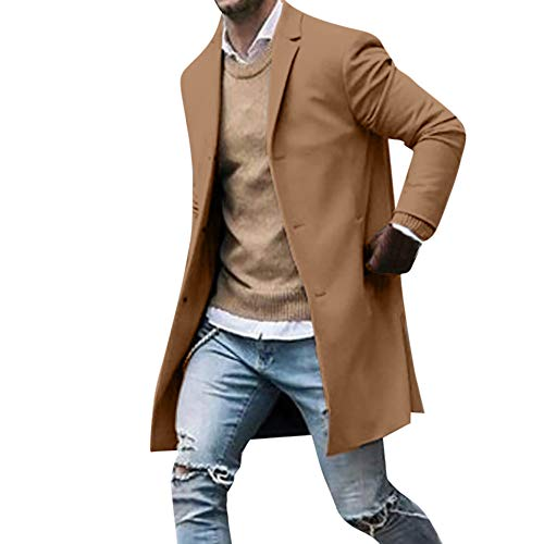 Trenchcoat Herren Herbst Winter Button Slim Langarm Anzug Jacke Trenchcoat Top Bluse Roter Mantel