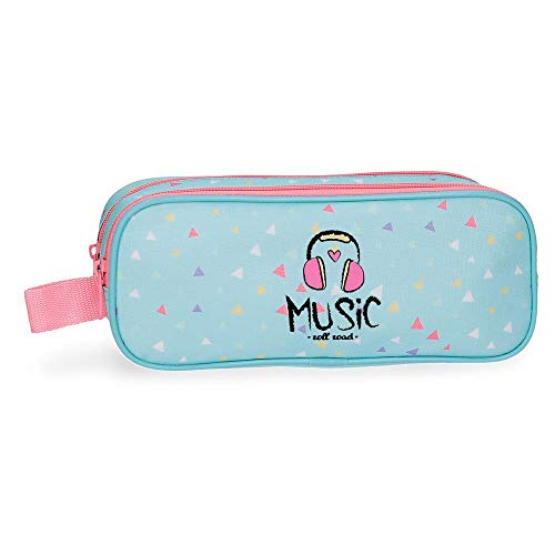 Roll Road Music Double Pencil Case Blue 23x9x7 cms Polyester