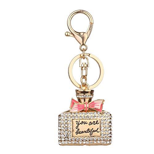 LAIGESHADIAO Sleutelhanger Populaire Diamant Kleine Vierkante Parfum Fles Sleutelhanger Dames Tas Hanger Auto Accessoires Hanger