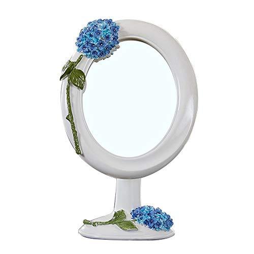 FYMDHB886 Desktop Vanity Spiegel Prinses Vintage Stijl Make-up Spiegel Draaibare Schoonheidsspiegel Draagbare Cosmetische Spiegel Monteerbaar, Size, Kleur: wit