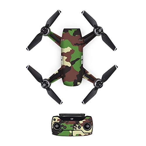 HONG YI-HAT New Camo arning PVC-avtagbar bild-hud-dekal för DJI Spark-Drone kropp + fjärrkontroll + 3 batteri skyddshölje [DJS0027] drönare reservdelar