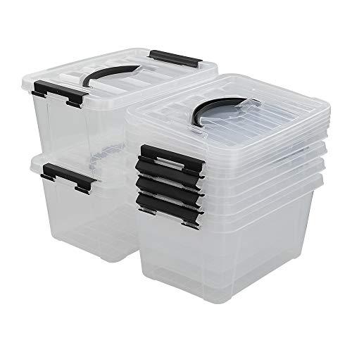Minekkyes Contenitore di Plastica Set di 6, Scatole Portaoggetti con Manico (Nero)
