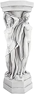 Design Toscano Column of Maenads Display Pedestal Sculpture, 29 Inch, Polyresin, Antique Stone