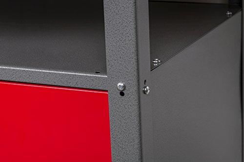 Werkbank aus Metall mit 30 mm Sperrholzplatte mit einer verschließbaren Tür, einer Schublade sowie einer Zwischenablage, Maße B 120 x H 85 X T 60 cm - 6