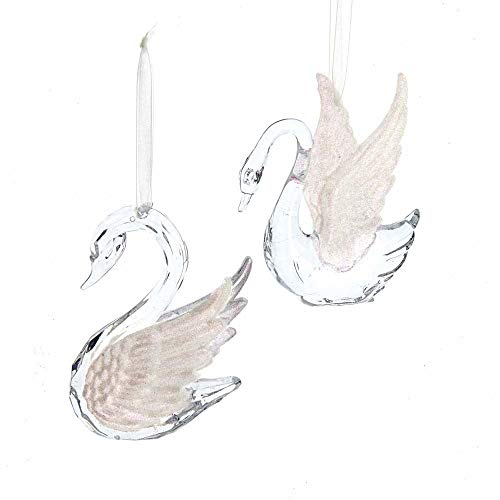 The Bridge Collection Faux Crystal Swan Ornaments, Set of 2