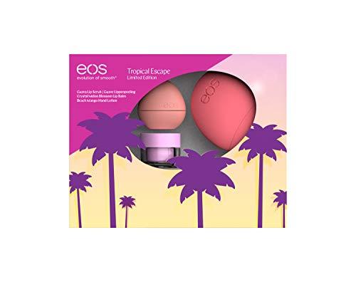 eos Tropical Escape Set, aus Lippenpeeling, Lip Balm & Handcreme, natürliche Pflegeprodukte, kleine Beauty-Box, Haut- & Lippenpflege, 3er Set
