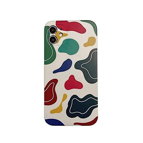 DSMYYXGS Retro Líneas abstractas Funda telefónica de Arte For iPhone 12 11 Pro MAX XR XS MAX 7 8 Plus 12 Pro 7PLUS Case CUBIERTE Linda Geometry Soft Soft (Color : A, Size : For iPhone 12 Pro)
