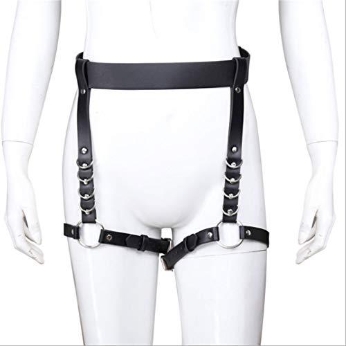 PhQiB Schwarzes Leder Geschirre Gürtel Hohlhose Frauen Sexy Strap-on verstellbare Beinriemen Jeans Sunglasses T-Shirt