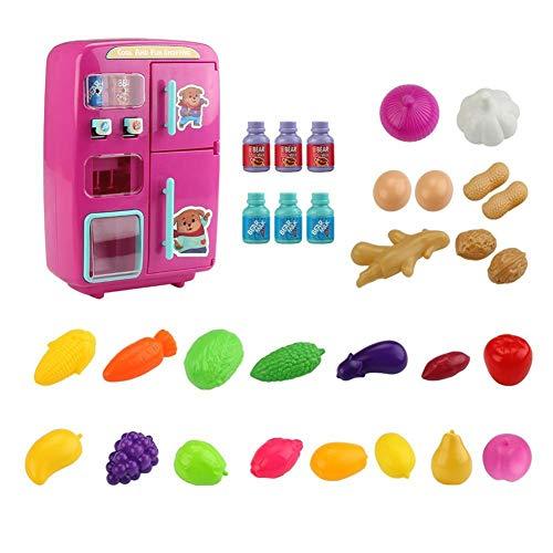 AEROBATICS Kühlschrank Spielzeug Kind,Kühlschrank und Zubehör Puppenzubehör Nebel Funktion Lichter Ringe Kinder-Kühlschrank Spielzeug Set Mini Pretend Play Küche Spielzeug für Kinder