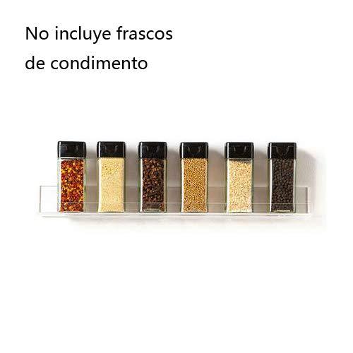 circulor Especiero De Cocina Autoadhesivo, Estante De Almacenamiento De Botellas Pequeñas De Condimento Acrílico - 11.8x2.4x2.0 Pulgadas