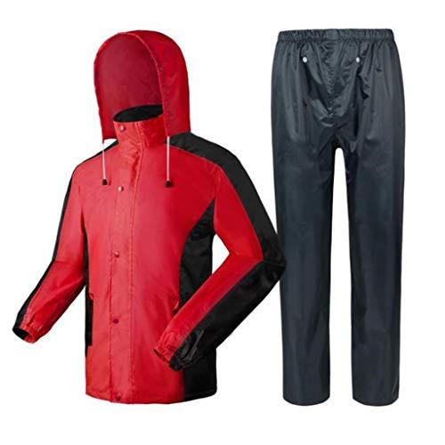 Radvihay Traje de lluvia para hombre, conjunto de pantalones y chaquetas, conjunto impermeable a prueba de viento a prueba de viento con capucha, impermeable al aire libre, ropa de protección contra l