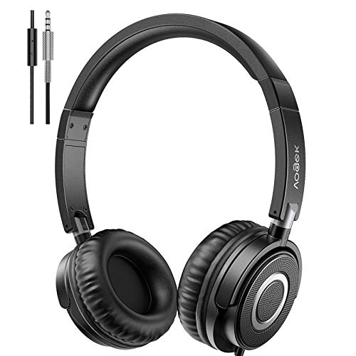 Vogek On Ear Headphones with Microphone, Lightweight Portable Fold-Flat Headsets with Mic, Stereo Bass, 1.5M Tangle Free Cord, Adjustable Headband for Teens Adults at Home School Office, Black