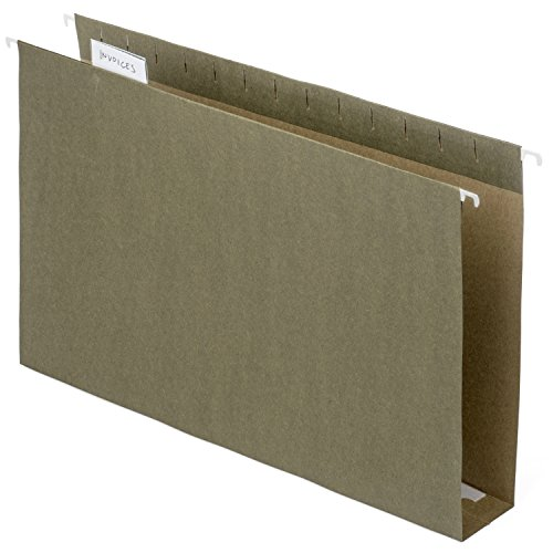 Blue Summit Supplies Extra Capacity Hanging File Folders, 11 x 14 Legal Size, Heavy Duty, 2 Inch Expansion Filing Folders, 1/5 Tab, for Bulky Files, Legal Charts, Standard Green, 25 Pack