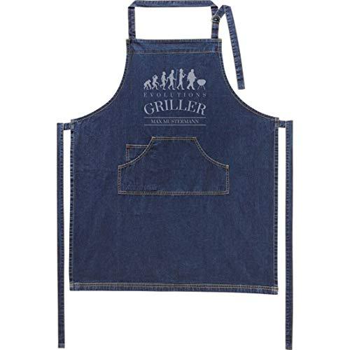 Jeans-Schürze mit Namen - Motiv Griller - lustig - viele Motive - Kochschürze - Grillschürze - personalisiert - dunkelblau - Größe 75x90 cm - persönliches Geschenk - mit Wunschname - mit Wunschmotiv