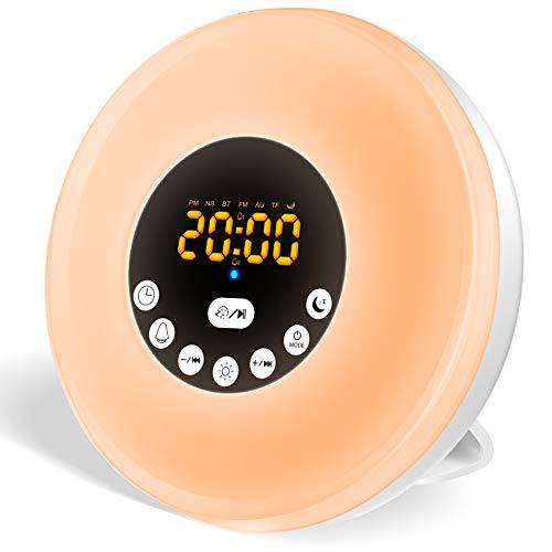 Swonuk Wecklicht, Sonnenaufgangswecker mit FM-Radio, Schlummerfunktion, 7 Farben, 8 Alarmtöne, Sonnenaufgang/Sonnenuntergang, Simulation, LED-Nachttischlampe, Nachtlicht für Kinder und Erwachsene