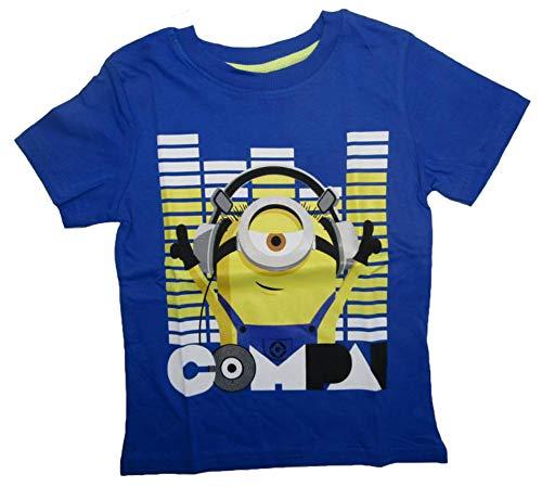 Minions - Despicable Me Jungen Kurzarm Shirt Kinder T-Shirt Buben Kopfhörer Ich einfach unverbesserlich (blau, 134)