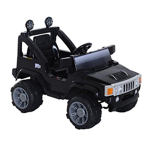 homcom Macchinina Elettrica per Bambini Modello Jeep con MP3 108 × 71 × 75cm Nero