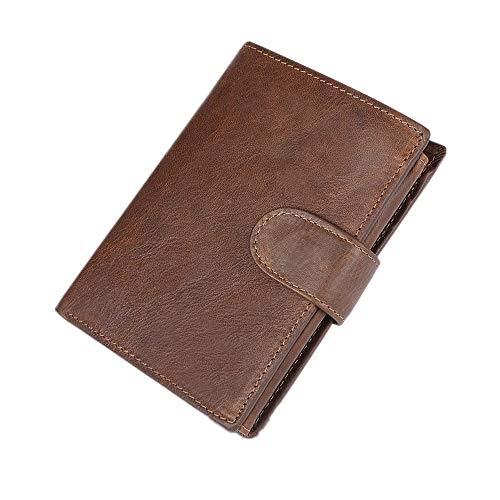 HoGau Classic Heren Slim Bifold Dunne Minimalistische Pocket Portemonnees Met RFID-blokkering- leder/mannen/zwart/bruin/koffie