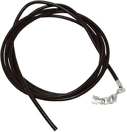 Unbespielt Lederband Länge 1 m verkürzbar Schwarz Unisex Verschluss Karabinerverschluss Silberfarbend. Breite 2 mm Kette Collier Halskette für Anhänger