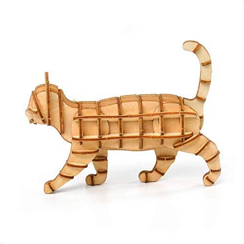 WSJ Figurines Adornos para niños Juguetes decoración Familiar de Bronce, 3D Animal Puzzle Toy Puzzle DIY Handmade Gift Cat Creative Children's Toy
